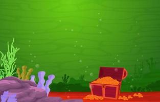 cena subaquática com arca do tesouro, âncora e ilustração do recife de coral vetor