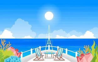 Convés do navio de cruzeiro com ilustração do horizonte do oceano vetor