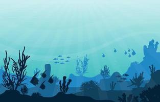 cena subaquática com ilustração de peixes e recifes de coral vetor