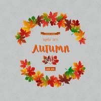 banner de venda de outono com folhas coloridas vetor