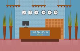 lobby do hotel com mesa de recepção e ilustração de móveis vetor
