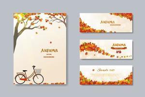 coleção de banner de venda de outono da natureza com folhas coloridas vetor