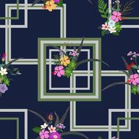 flores tropicais coloridas e folhas padrão sem emenda no fundo geométrico vetor