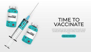 hora de vacinar o desenho do banner de vacinação contra o coronavírus vetor