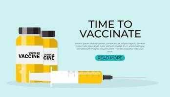 tempo para vacinar, ilustração de vacinação contra coronavírus vetor