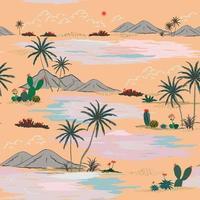 padrão pastel sem costura com ilha da natureza desenhada à mão