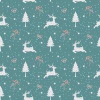 padrão sem emenda de feriado de natal com veados na temporada de inverno vetor
