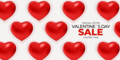fundo de banner de venda do dia dos namorados com corações realistas vetor