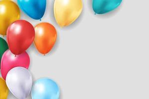 fundo de balão 3d realista para festa, feriado, aniversário, cartão de promoção, cartaz. ilustração vetorial vetor
