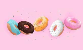 realista 3d fundo doce saboroso donut. pode ser usado para menu de sobremesa, pôster, cartão. ilustração vetorial vetor