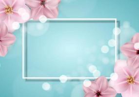 sprind 3d bonito realista e fundo de flor rosa de verão. ilustração vetorial vetor
