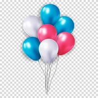 balão 3d realista definido para festa, férias. ilustração vetorial vetor