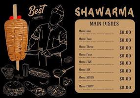 cozinha shawarma e ingredientes para kebab. vetor