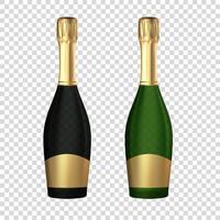 ícone realista 3d garrafa verde e preta champanhe isolado. vetor