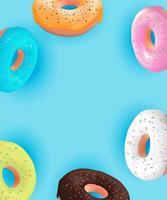 realista 3d fundo doce saboroso donut. pode ser usado para menu de sobremesa, pôster, cartão. vetor