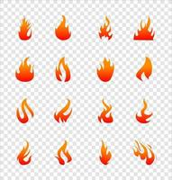 ícones planos de fogo para design em fundo transparente vetor