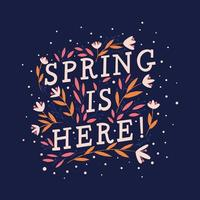 tipografia manuscrita decorativa colorida com flores e decoração. primavera mão lettering ilustração design. vetor