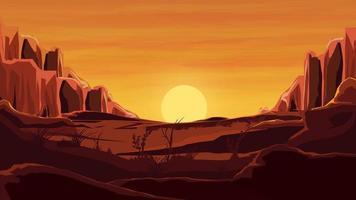 rochas no deserto, pôr do sol laranja, montanhas, areia, lindo céu. vetor