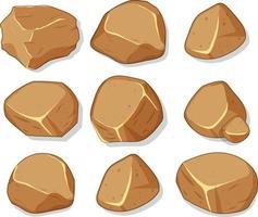 conjunto de pedras marrons isoladas no fundo branco vetor