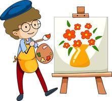pequeno artista desenhando a imagem personagem de desenho animado isolada vetor