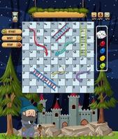 jogo de escada de cobra com tema de conto de fadas vetor