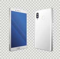vista frontal e lateral, maquete realista de smartphones