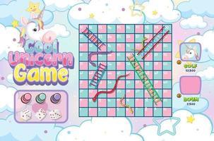 jogo de escada de cobra com tema pastel de unicórnio vetor