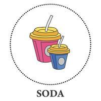 refrigerante em um copo de papelão ícones em um fundo branco - ilustração vetorial
