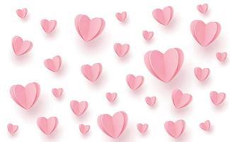 corações rosa-avermelhados suavemente na forma de um grande coração em um fundo branco vetor
