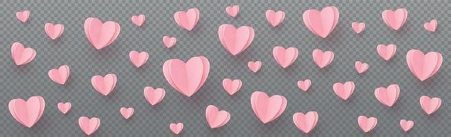 corações rosa-avermelhados suavemente em um fundo cinza xadrez vetor