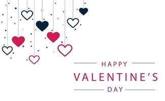 corações festivos vermelhos e azuis em um fundo branco com parabéns - ilustração vetorial vetor