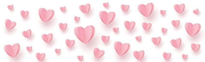 delicados corações rosa avermelhados em um fundo branco vetor