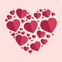 corações rosa-avermelhados suavemente na forma de um grande coração em um fundo rosa vetor