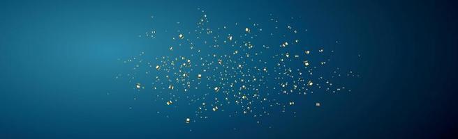 confete dourado brilhante sobre um fundo azul escuro - ilustração vetorial
