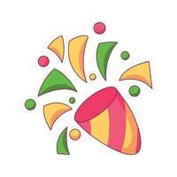 Ilustração em vetor confetti aniversário cartoon doodle desenhado à mão conceito