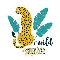 slogan selvagem. leopardo. impressão gráfica de tipografia, desenho de moda para camisetas. adesivos de vetor, impressão, patches vintage. vetor