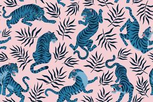 tigres e folhas tropicais. ilustração da moda. padrão sem emenda contemporâneo abstrato. vetor