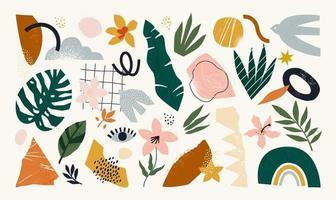 o enorme conjunto de várias formas desenhadas à mão e objetos de doodle. ilustração vetorial na moda moderna contemporânea abstrata. todos os elementos são isolados. vetor