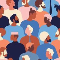 diversos rostos masculinos de padrão sem emenda de diferentes etnias. padrão de movimento de empoderamento dos homens. gráfico do dia dos pais em vetor. vetor
