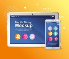 tablet realista e maquete de smartphone vetor