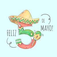 Número De Cinco De Mayo Bonito Com Chapéu Mexicano vetor