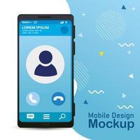 maquete de design de telefone móvel com pôster realista de smartphone
