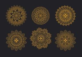 conjunto de ornamento floral mandala vetor