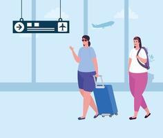 mulheres jovens com bagagens no terminal do aeroporto vetor