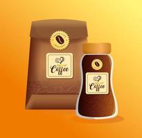 Conjunto de maquete de café para design de embalagem vetor
