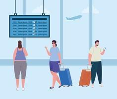 pessoas no terminal do aeroporto vetor