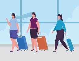 mulheres em pé no aeroporto para fazer o check-in vetor