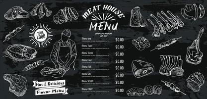 menu de carnes para restaurante e café. panfleto de comida. vetor
