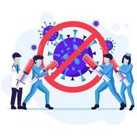 pessoas lutando contra o conceito de vírus vetor