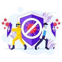 luta contra o conceito de vírus, médico e enfermeiras lutando contra ilustração do coronavírus covid-19 vetor